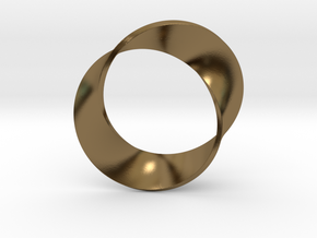 0155 Mobius strip (p=2, d=5cm) #003 in Polished Bronze