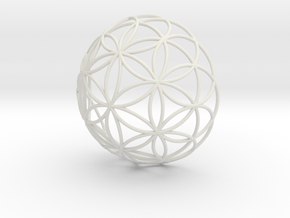 3D 400mm Half Orb of Life (3D Flower of Life)  in White Natural Versatile Plastic