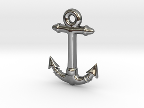 Anchor Pendant 2 in Fine Detail Polished Silver