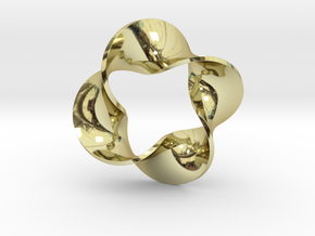 0160 Mobius strip (p=4, d=10cm) #008 in 18k Gold Plated Brass