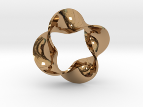 0159 Mobius strip (p=4, d=5cm) #007 in Polished Brass