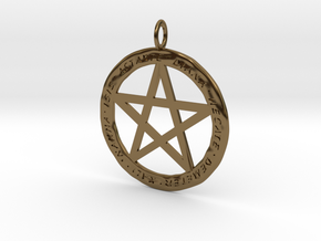 Pentacle pendant - Goddess chant in Polished Bronze