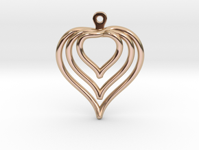 3D Printed Wired Love Yourself Heart Earrings in 14k Rose Gold Plated Brass