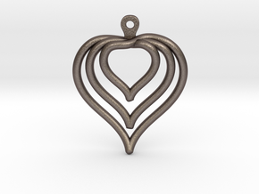 3D Printed Wired Love Yourself Heart Earrings in Polished Bronzed Silver Steel
