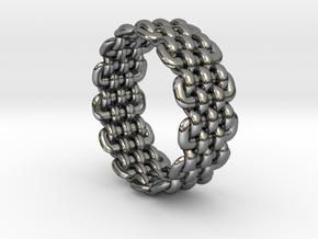 Wicker Pattern Ring Size 12 in Fine Detail Polished Silver