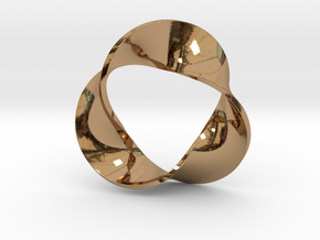 0157 Mobius strip (p=3, d=5cm) #005 in Polished Brass
