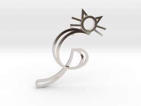 GP Cat Pendant in Rhodium Plated Brass