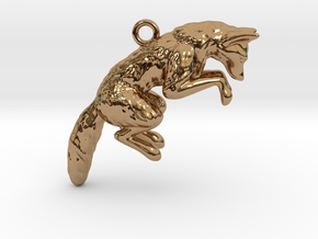 Pouncing Fox in Polished Brass
