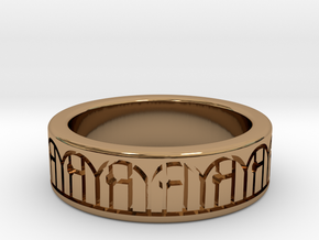3D Printed Harmony Ring Size 7 by bondswell3D in Polished Brass