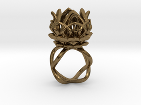 The Lotus Flower Ring / size 7 1/2 US in Natural Bronze