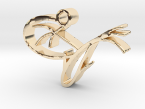 Zen pendant - fish and lily pad in 14k Gold Plated Brass