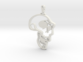 Skull Graffiti in White Natural Versatile Plastic