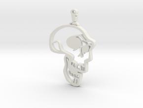 Skull Graffiti in White Natural Versatile Plastic