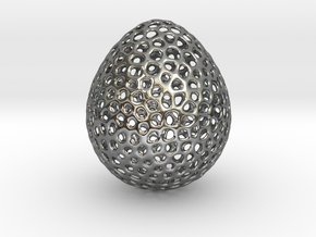 Egg Voronoi Style 5Cm hight in Fine Detail Polished Silver