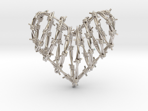 Barbed Wire Heart Cage Pendant in Rhodium Plated