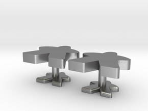 Meeple Cufflinks in Natural Silver
