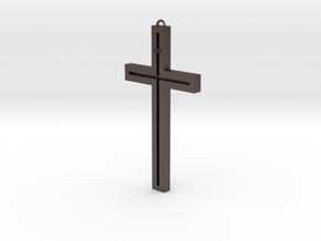 Modern Cross in Polished Bronzed Silver Steel