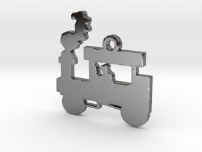 Steam Engine Train Necklace Pendant in Fine Detail Polished Silver