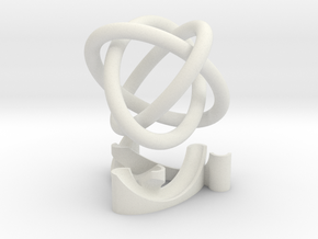 Borromean rings with stand in White Natural Versatile Plastic