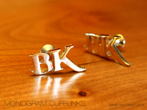 Monogram Cufflinks BK in 18k Gold Plated Brass