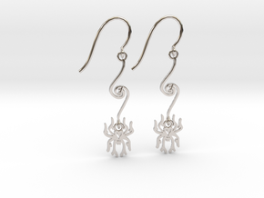 Spider Earrings in Rhodium Plated Brass