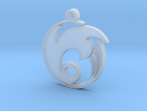Wave Circle Pendant in Smooth Fine Detail Plastic