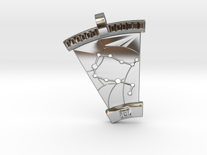 Gemini Constellation Pendant in Fine Detail Polished Silver