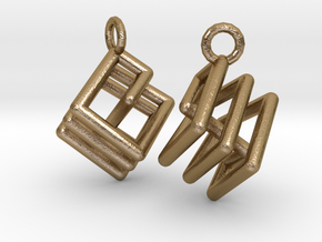 Ring-in-a-Cube Ear Rings in Polished Gold Steel