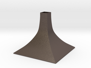 Squared Large Conical Vase in Polished Bronzed Silver Steel