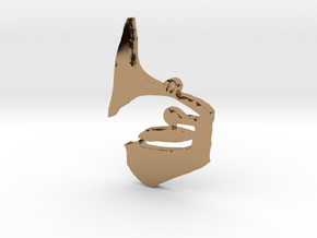 Phonograph Necklace Pendant in Polished Brass
