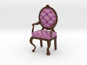 1:12 One Inch Scale PinkDark Oak Louis XVI Chair in Full Color Sandstone
