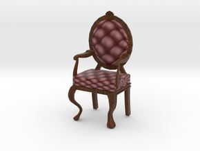 1:12 One Inch Scale MaroonDark Oak Louis XVI Chair in Full Color Sandstone