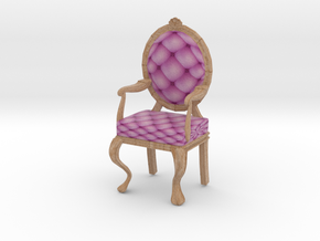 1:12 One Inch Scale PinkPale Oak Louis XVI Chair in Full Color Sandstone