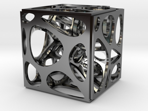 Voronoi cube in Fine Detail Polished Silver