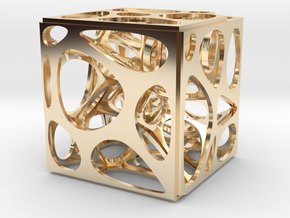 Voronoi cube in 14k Gold Plated Brass
