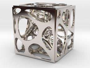 Voronoi cube in Rhodium Plated Brass