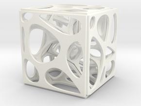 Voronoi cube in White Processed Versatile Plastic