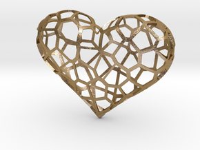 Voronoi heart in Polished Gold Steel