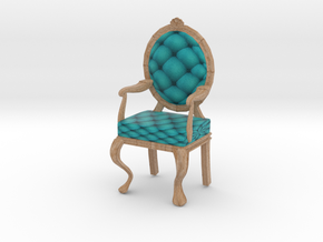 1:24 Half Inch Scale TealPale Oak Louis XVI Chair in Full Color Sandstone