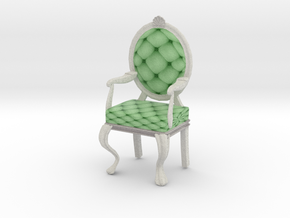 1:24 Half Inch Scale MintWhite Louis XVI Chair in Full Color Sandstone