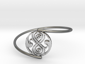 Seal of Rassilon - Bracelet Thin Spiral in Fine Detail Polished Silver