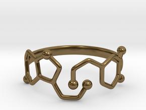 Dopamine Serotonin Molecule Ring - Size 11  in Polished Bronze