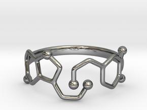 Dopamine Serotonin Molecule Ring - Size 11  in Fine Detail Polished Silver