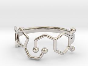 Dopamine Serotonin Molecule Ring Size10 in Rhodium Plated Brass