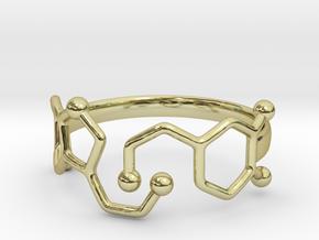 Dopamine Serotonin Molecule Ring Size10 in 18k Gold Plated Brass