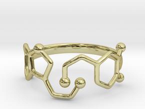 Dopamine Serotonin Molecule Ring  Size 9 in 18k Gold Plated Brass