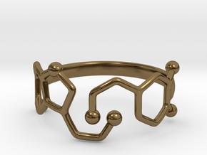 Dopamine Serotonin Molecule Ring  Size 9 in Polished Bronze