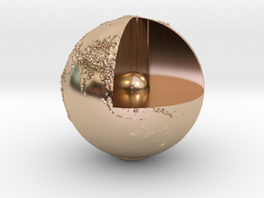 Earth with relief in 14k Rose Gold Plated Brass