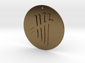 Tally Mark Pendant style 2 in Polished Bronze