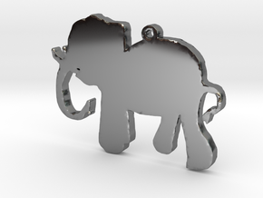Elephant Necklace Pendant in Fine Detail Polished Silver
